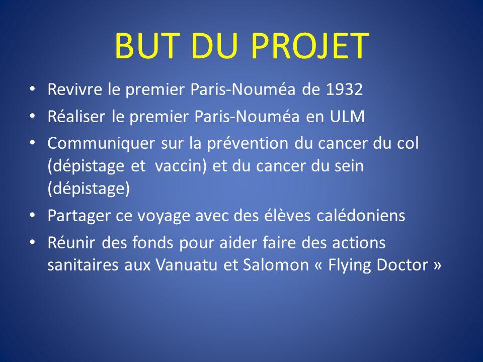 BUT DU PROJET Revivre le premier Paris-Nouméa de 1932