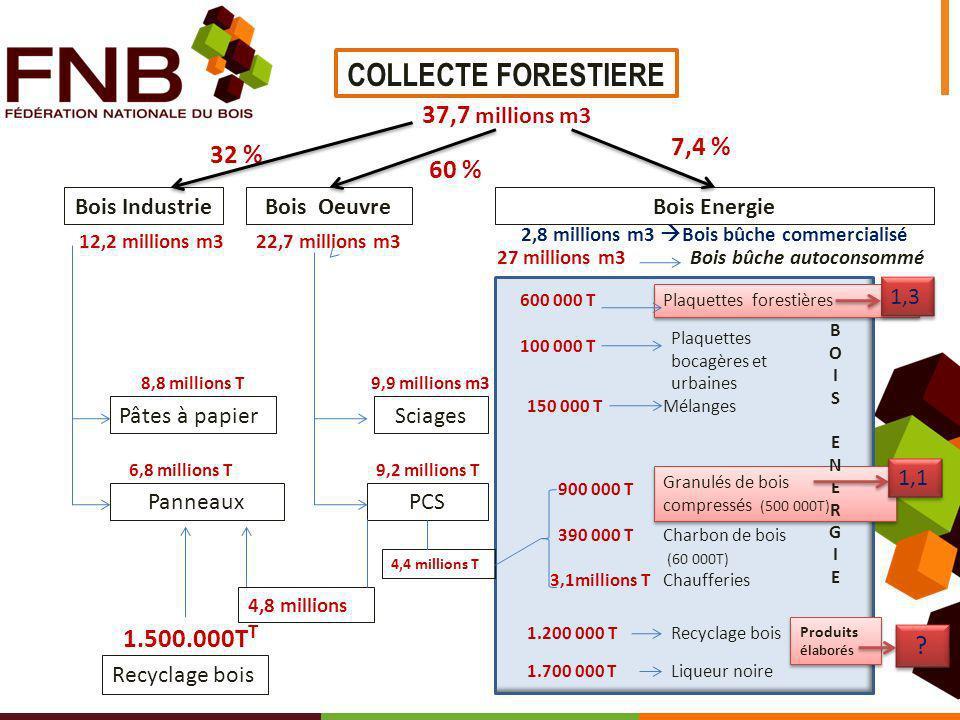 2,8 millions m3 Bois bûche commercialisé