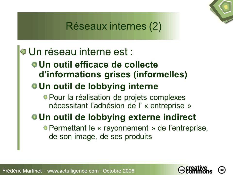 Réseaux internes (2) Un réseau interne est :