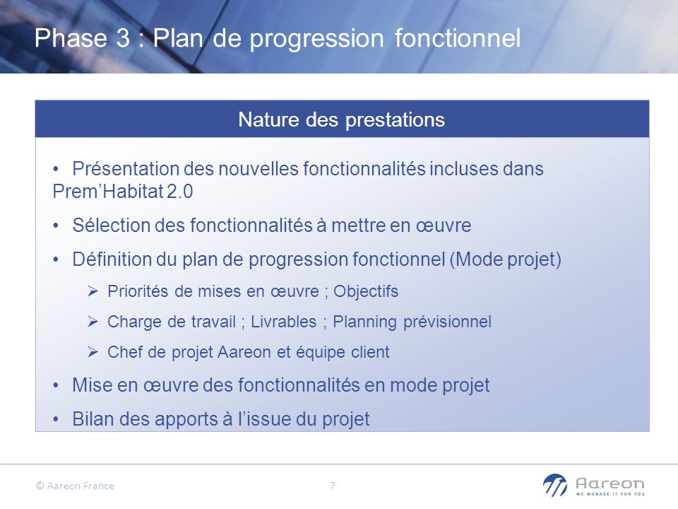 Phase 3 : Plan de progression fonctionnel