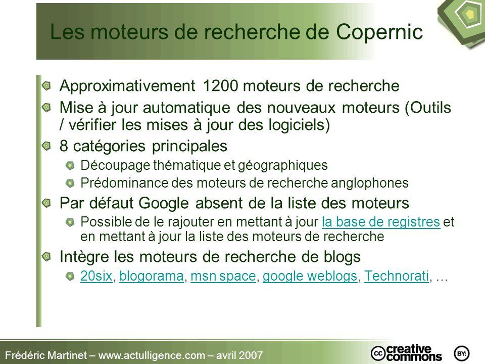 Les moteurs de recherche de Copernic