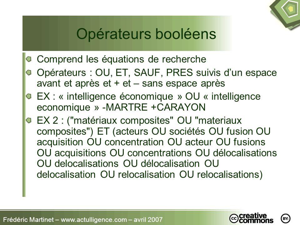 Opérateurs booléens Comprend les équations de recherche