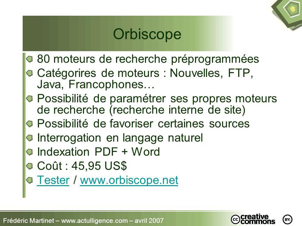 Orbiscope 80 moteurs de recherche préprogrammées