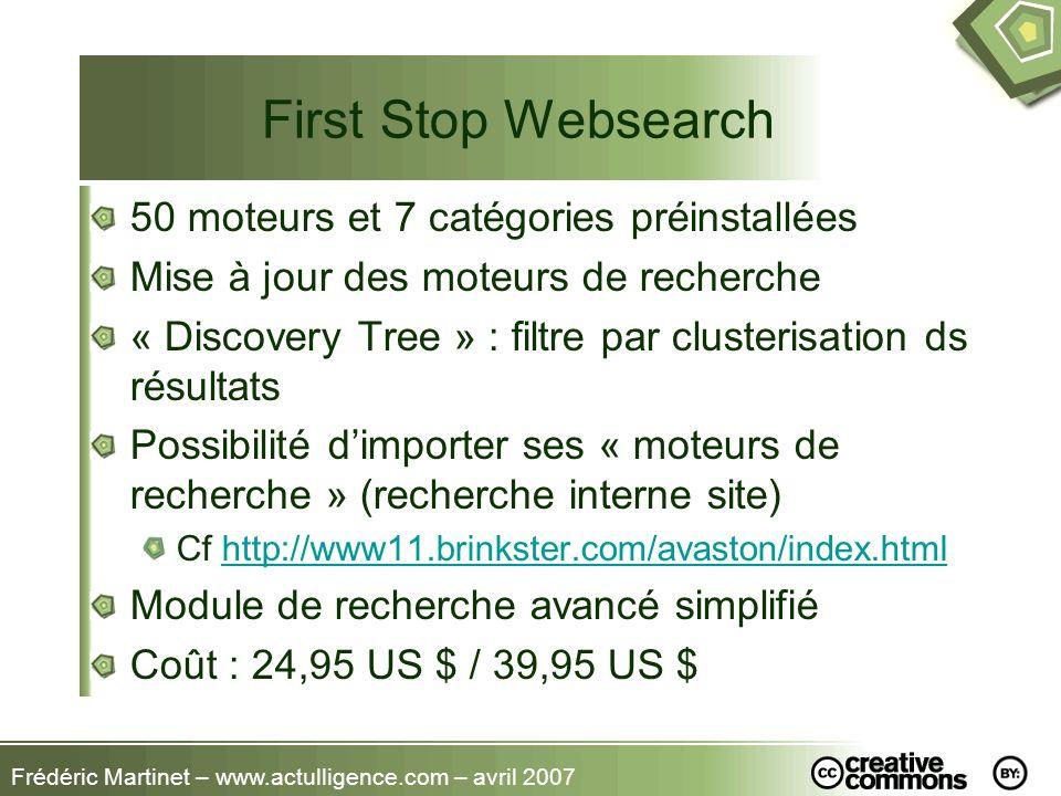 First Stop Websearch 50 moteurs et 7 catégories préinstallées