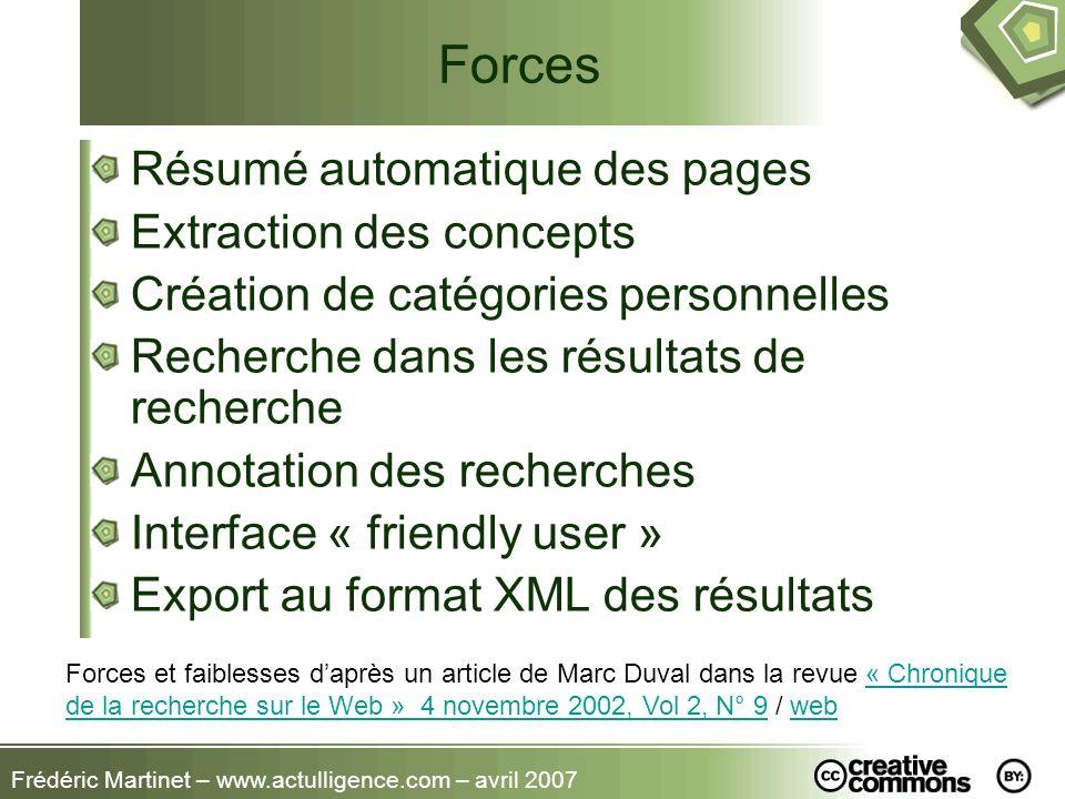 Forces Résumé automatique des pages Extraction des concepts