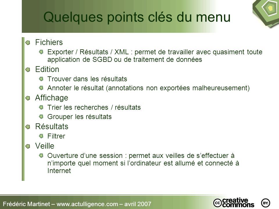 Quelques points clés du menu