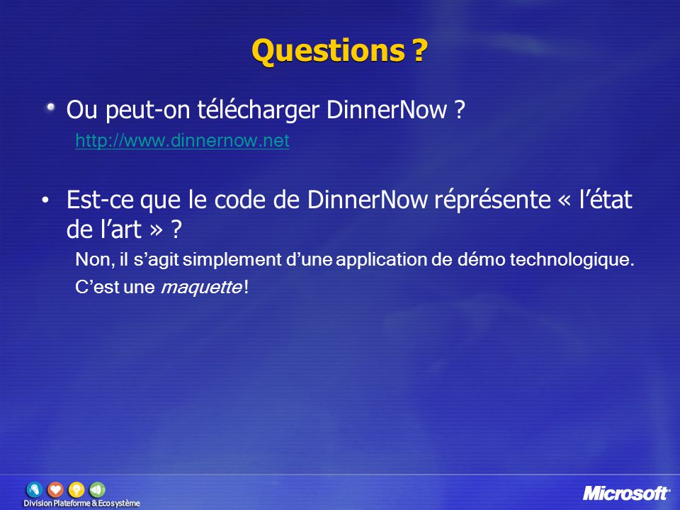 Questions Ou peut-on télécharger DinnerNow