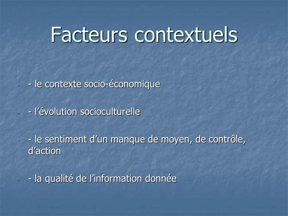 Facteurs contextuels - le contexte socio-économique