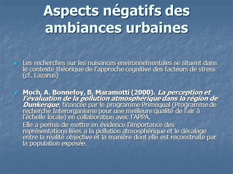 Aspects négatifs des ambiances urbaines