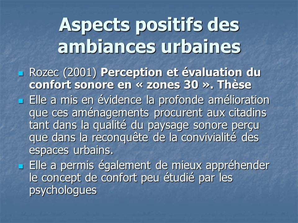 Aspects positifs des ambiances urbaines