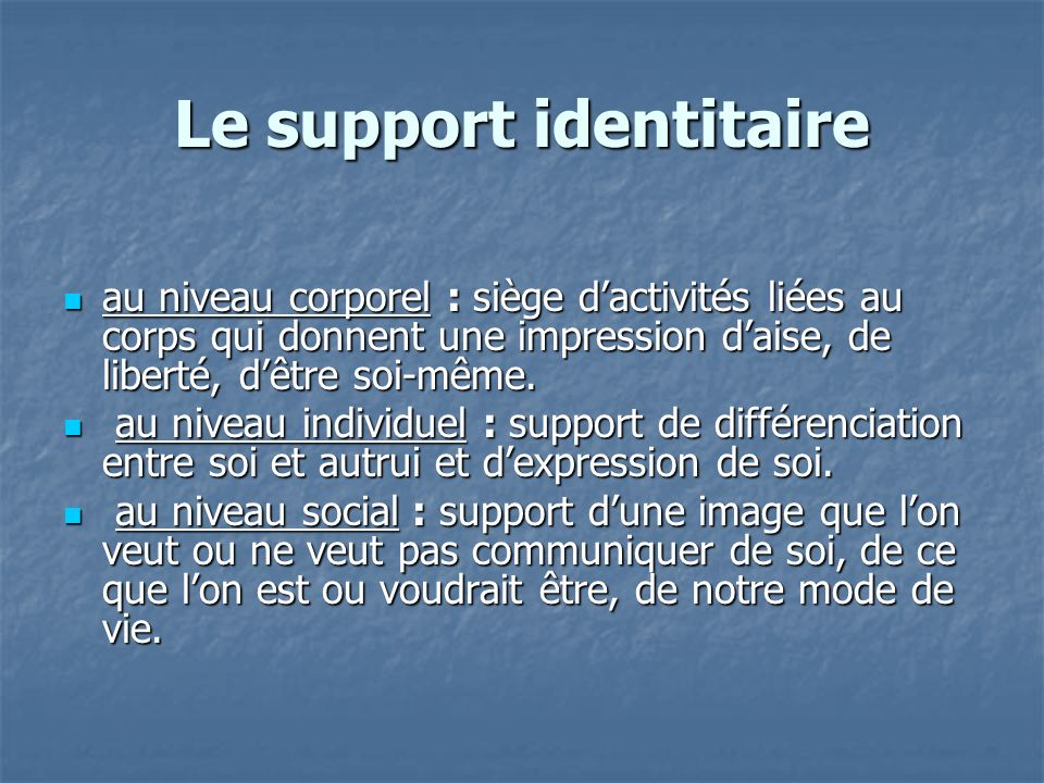 Le support identitaire