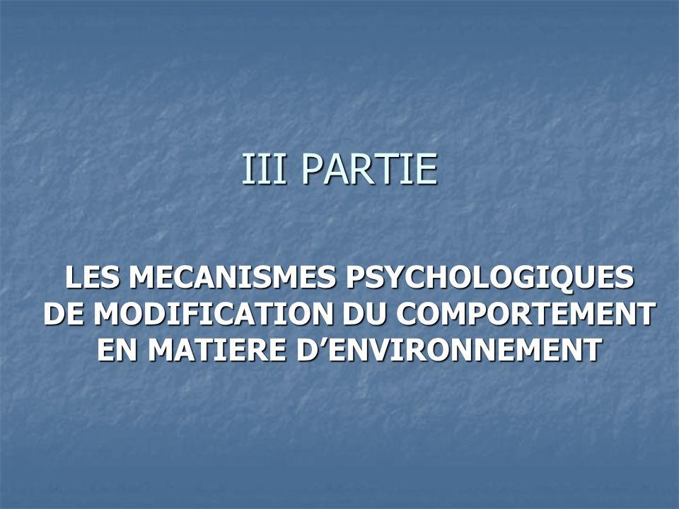 III PARTIE LES MECANISMES PSYCHOLOGIQUES DE MODIFICATION DU COMPORTEMENT EN MATIERE D'ENVIRONNEMENT