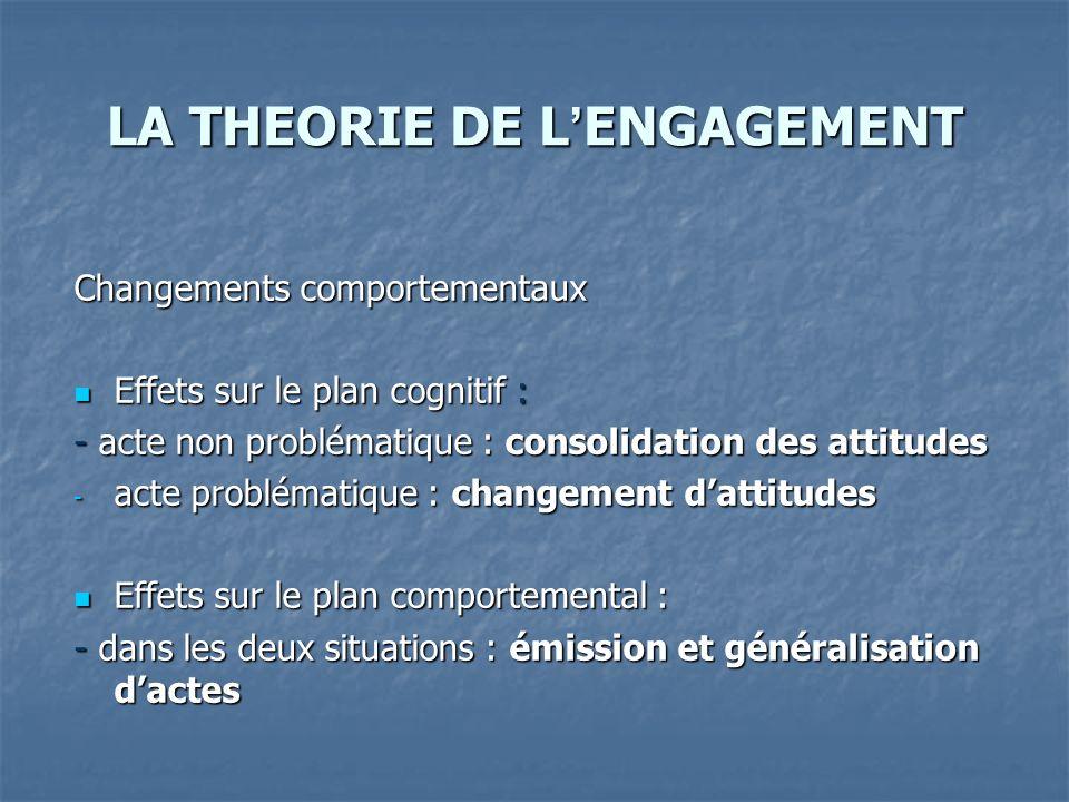 LA THEORIE DE L'ENGAGEMENT