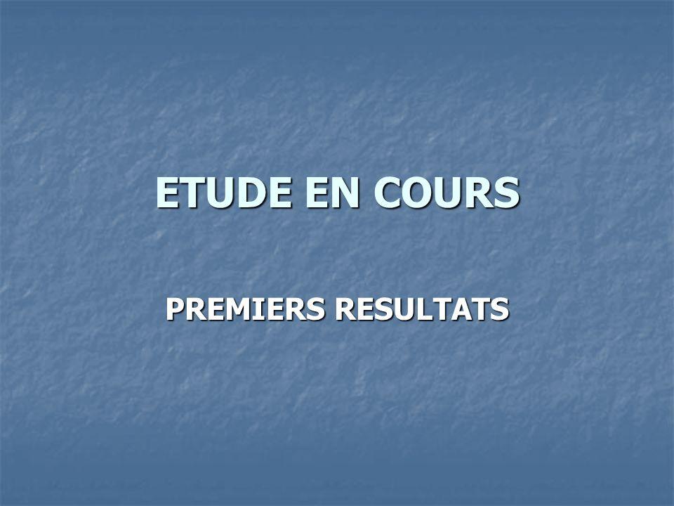 ETUDE EN COURS PREMIERS RESULTATS