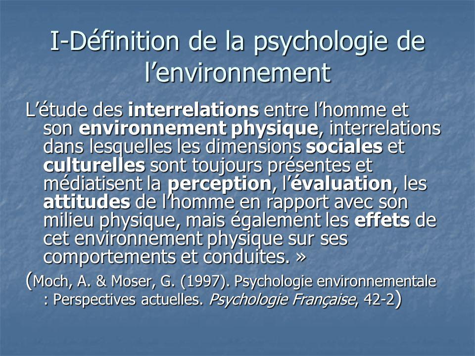 I-Définition de la psychologie de l'environnement