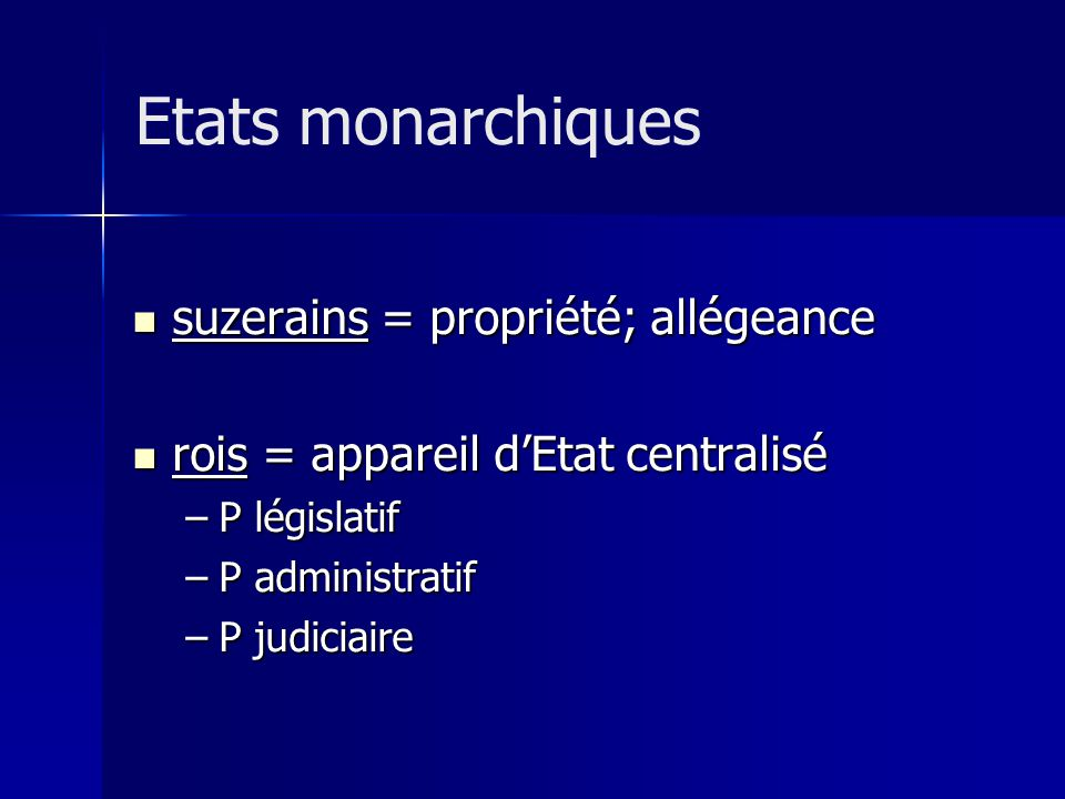 Etats monarchiques suzerains = propriété; allégeance