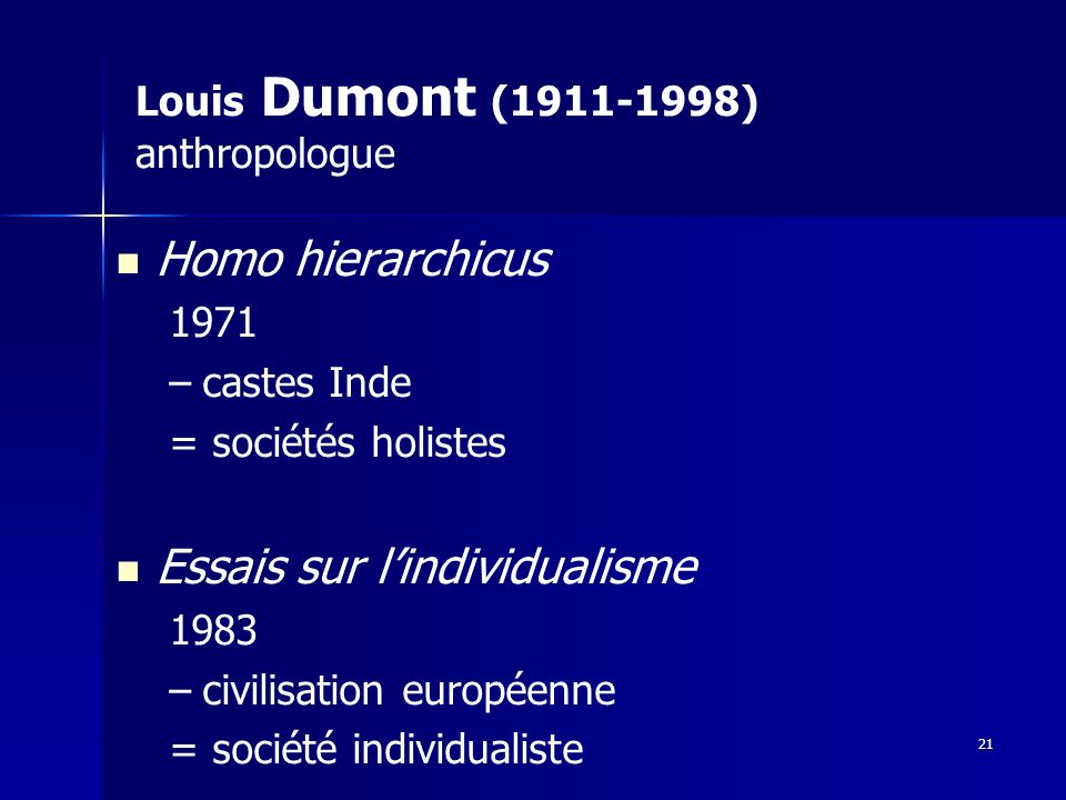 Louis Dumont (1911-1998) anthropologue