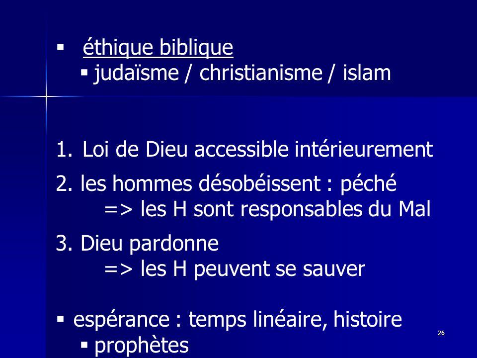 éthique biblique judaïsme / christianisme / islam. Loi de Dieu accessible intérieurement. 2. les hommes désobéissent : péché.