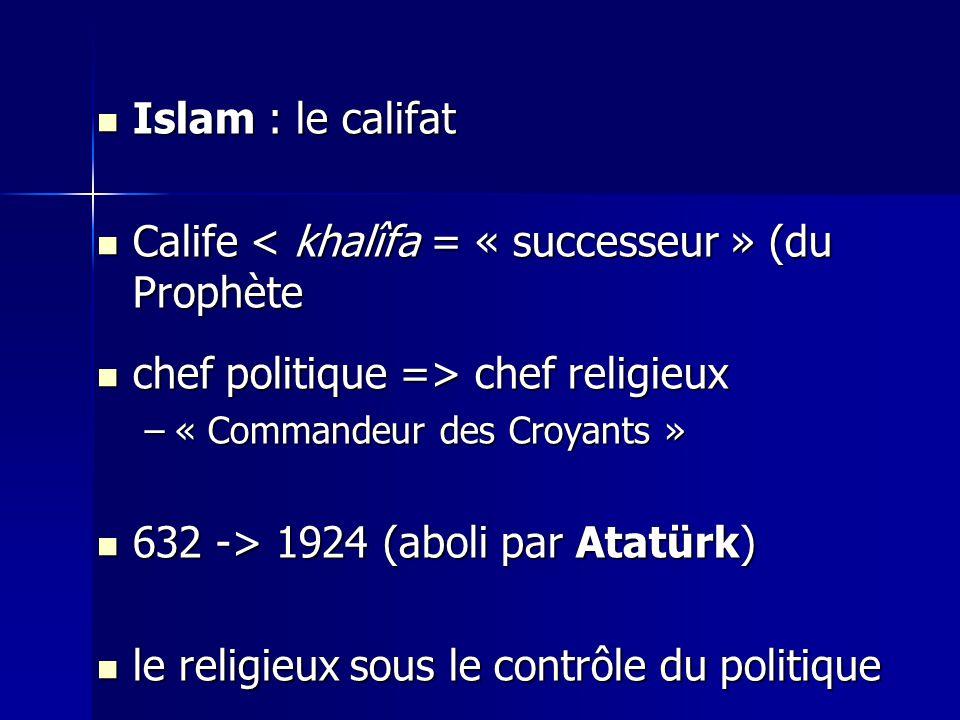 Calife < khalîfa = « successeur » (du Prophète