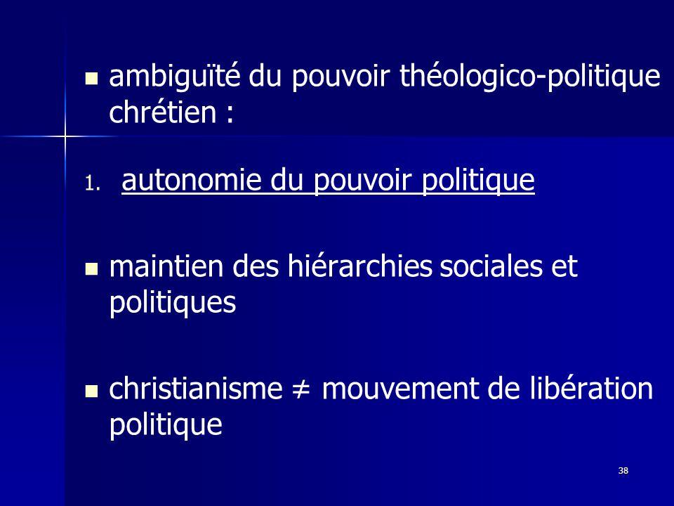 ambiguïté du pouvoir théologico-politique chrétien :