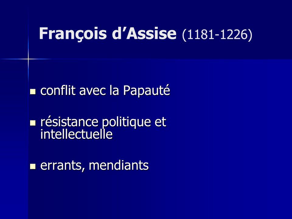 François d'Assise (1181-1226) conflit avec la Papauté