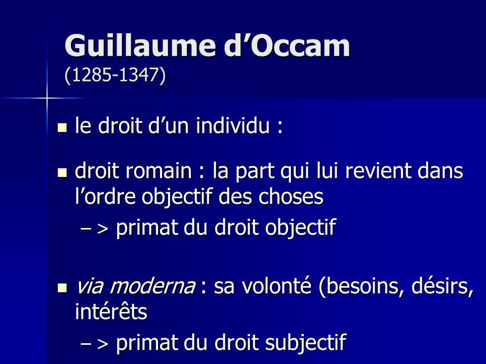 Guillaume d'Occam (1285-1347) le droit d'un individu :