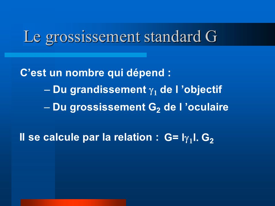 Le grossissement standard G