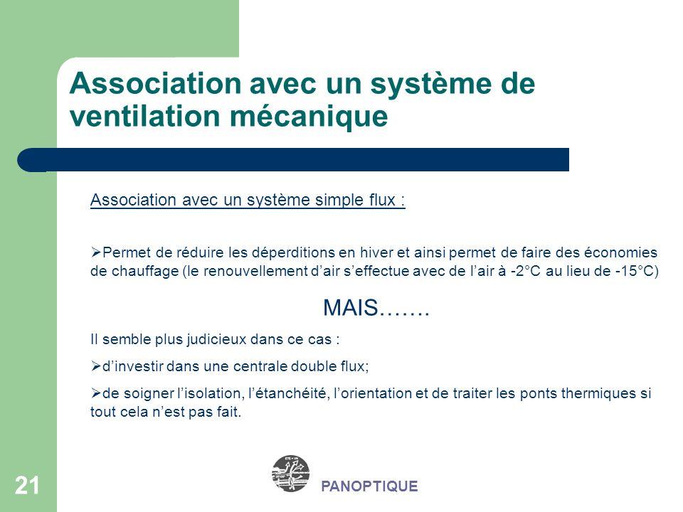 Association avec un système de ventilation mécanique