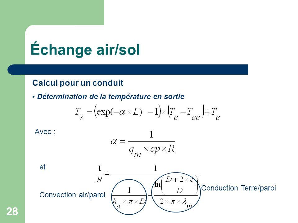 Échange air/sol Calcul pour un conduit