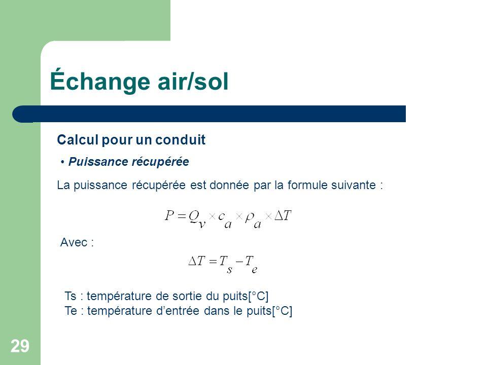 Échange air/sol Calcul pour un conduit Puissance récupérée