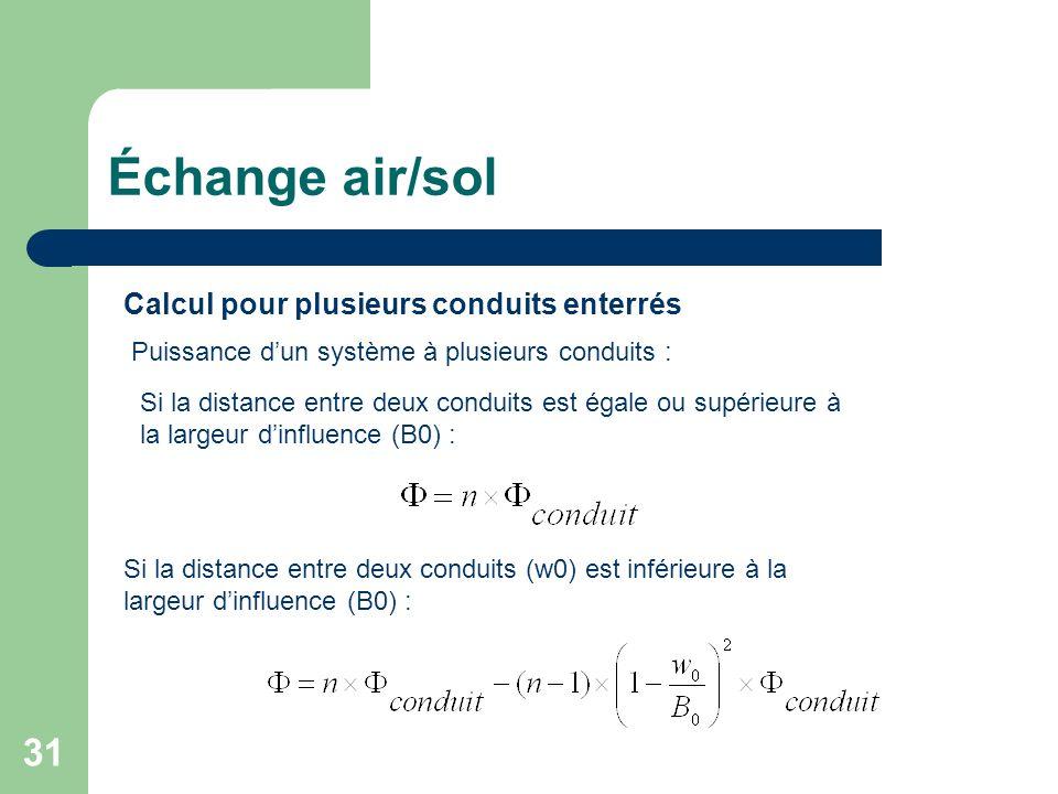 Échange air/sol Calcul pour plusieurs conduits enterrés