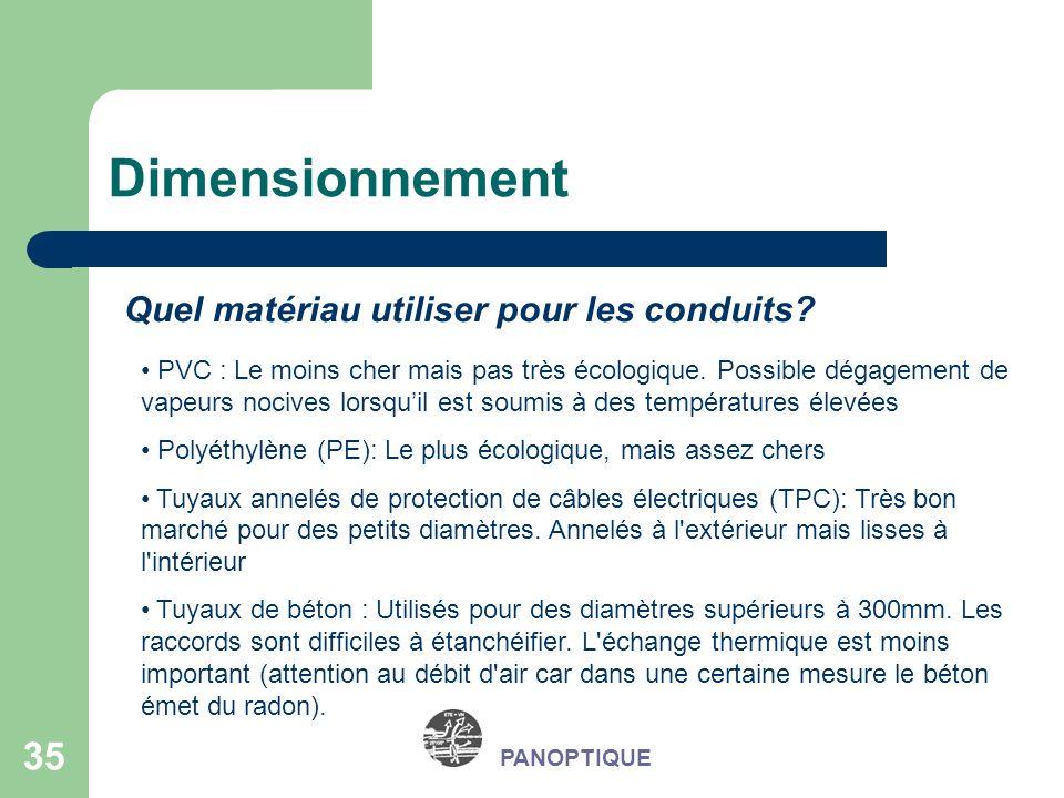Dimensionnement Quel matériau utiliser pour les conduits