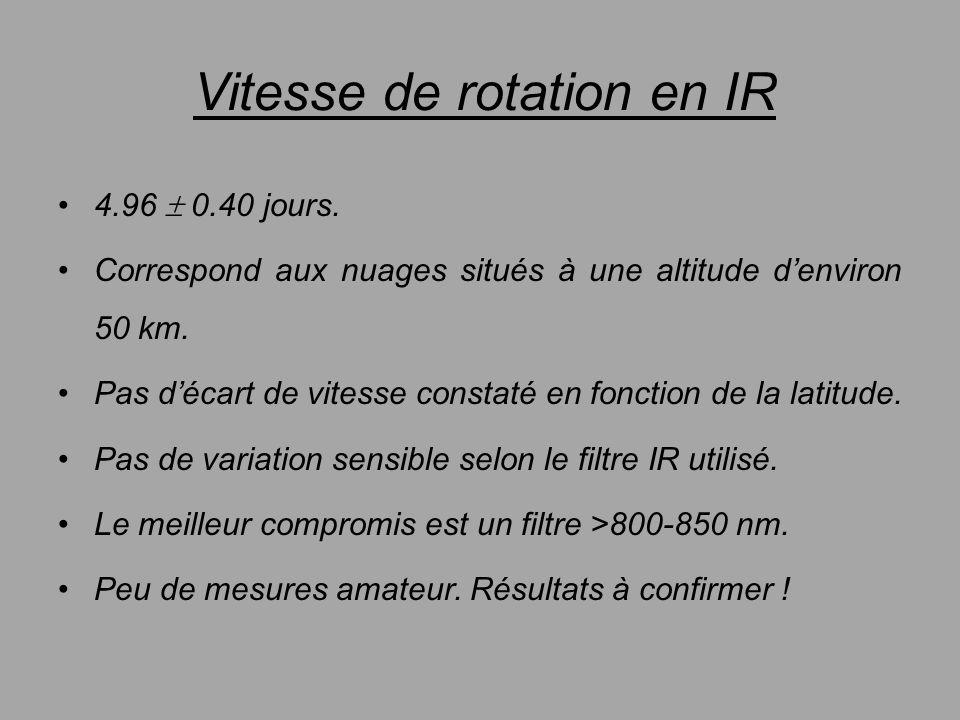 Vitesse de rotation en IR