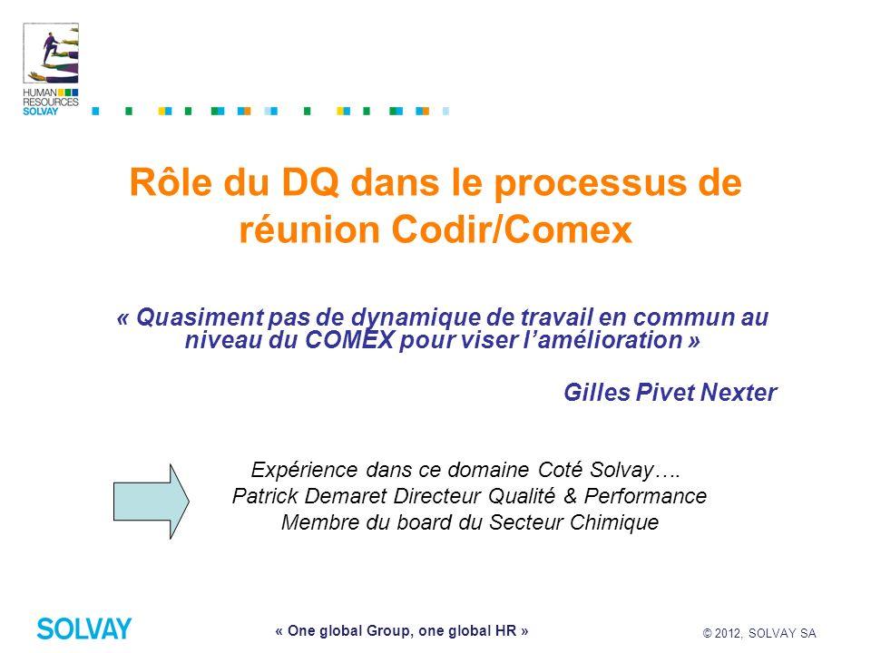 Rôle du DQ dans le processus de réunion Codir/Comex