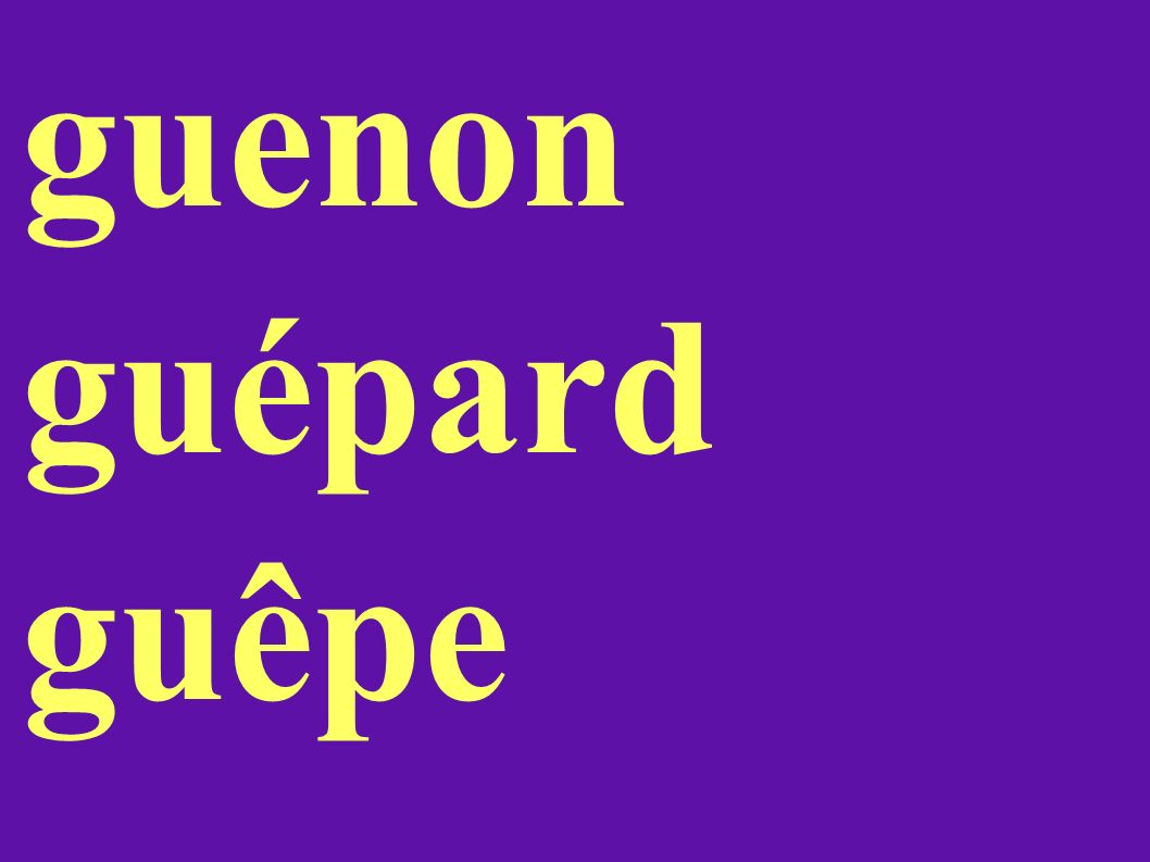 guenon guépard guêpe