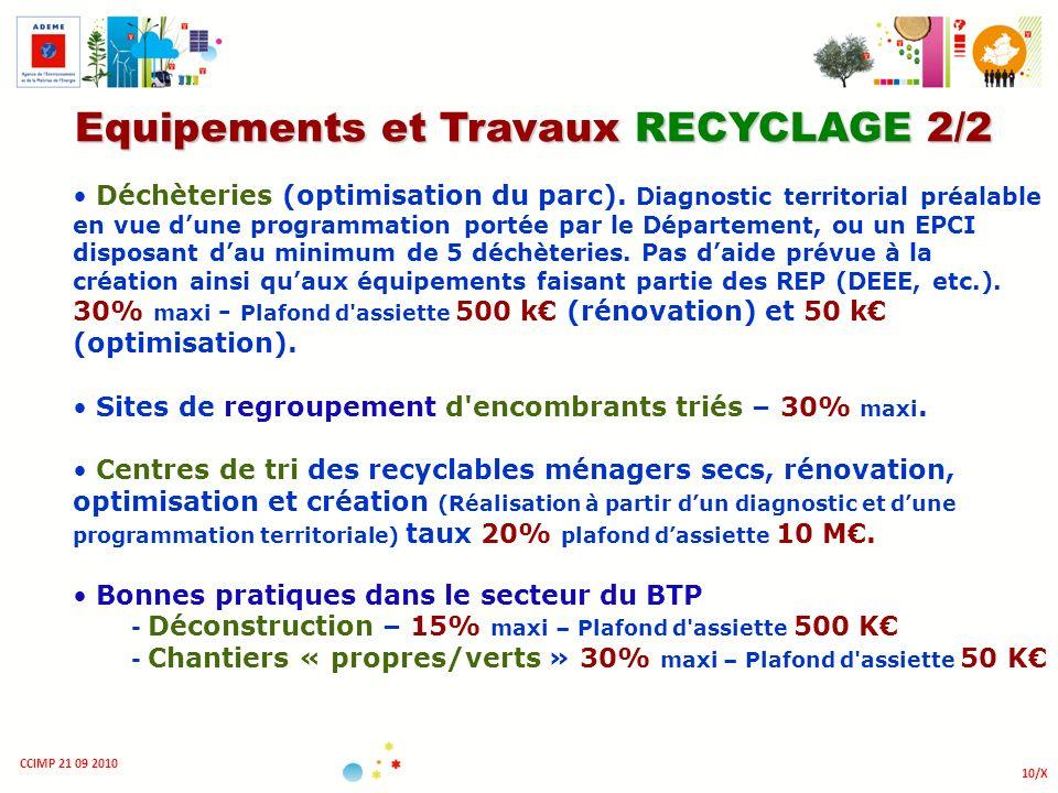 Equipements et Travaux RECYCLAGE 2/2