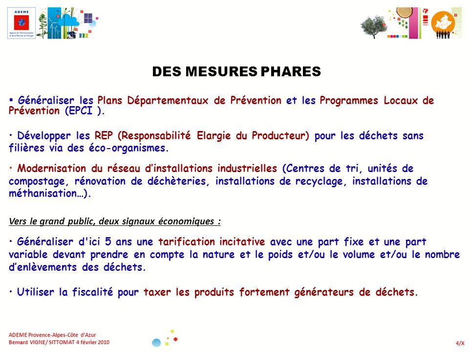 DES MESURES PHARES Généraliser les Plans Départementaux de Prévention et les Programmes Locaux de Prévention (EPCI ).