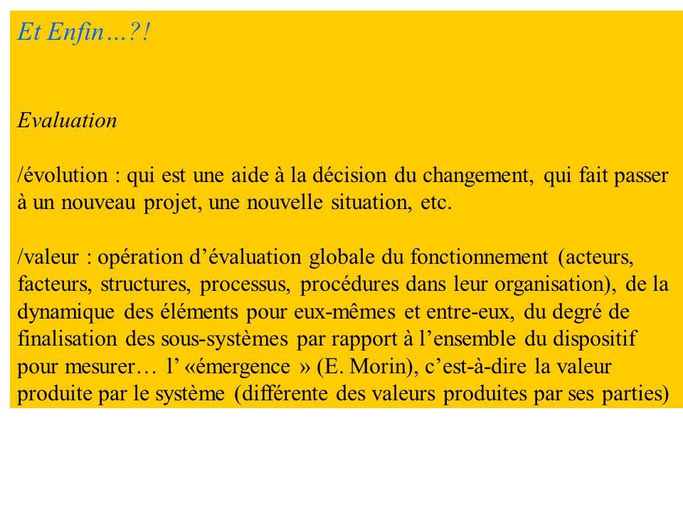 Et Enfin… ! Evaluation. /évolution : qui est une aide à la décision du changement, qui fait passer.