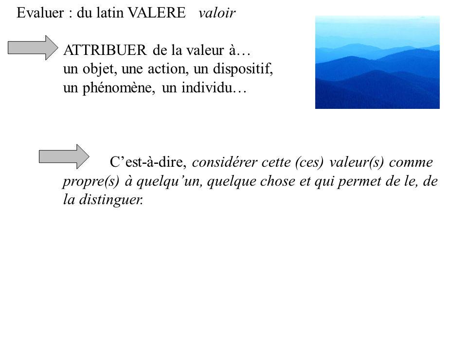 Evaluer : du latin VALERE valoir