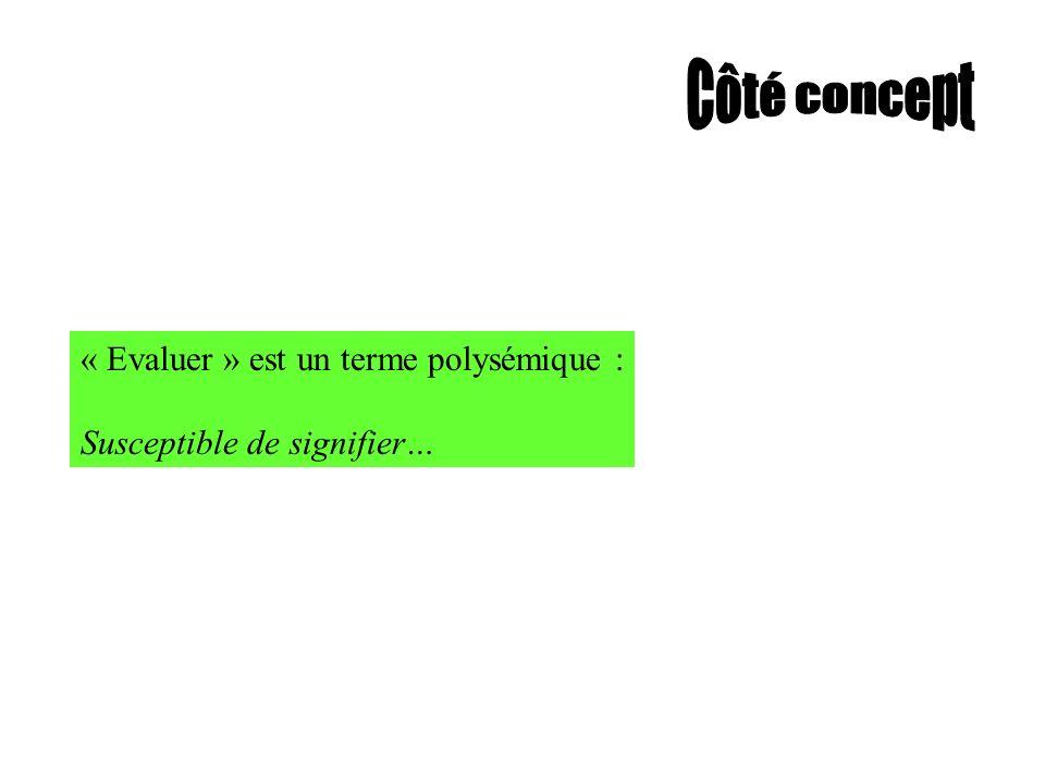 Côté concept « Evaluer » est un terme polysémique :