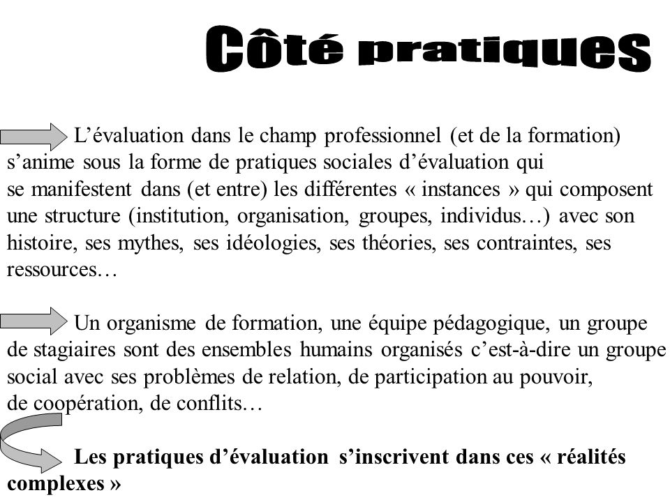 Côté pratiques L'évaluation dans le champ professionnel (et de la formation) s'anime sous la forme de pratiques sociales d'évaluation qui.