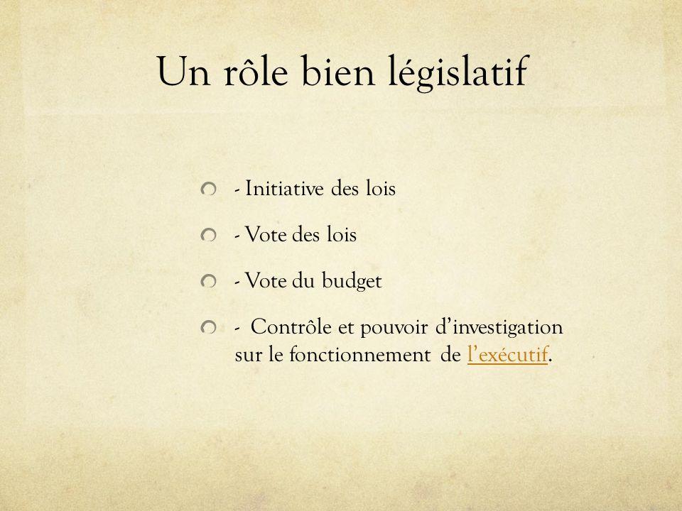 Un rôle bien législatif