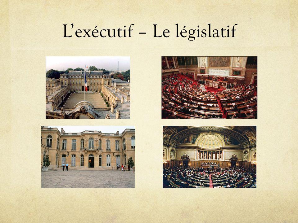 L'exécutif – Le législatif