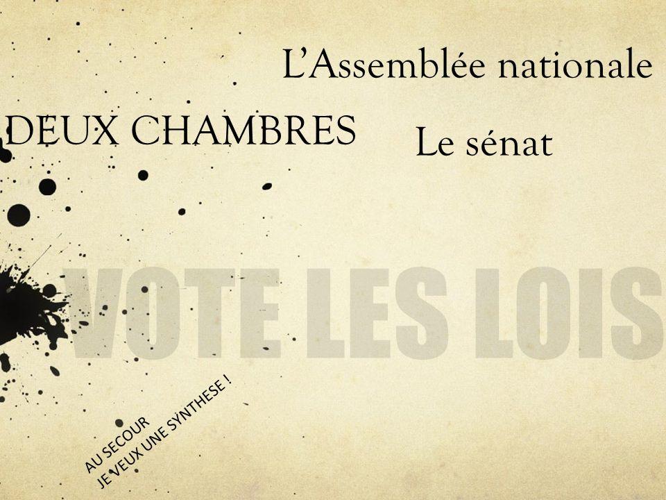 VOTE LES LOIS L'Assemblée nationale DEUX CHAMBRES Le sénat