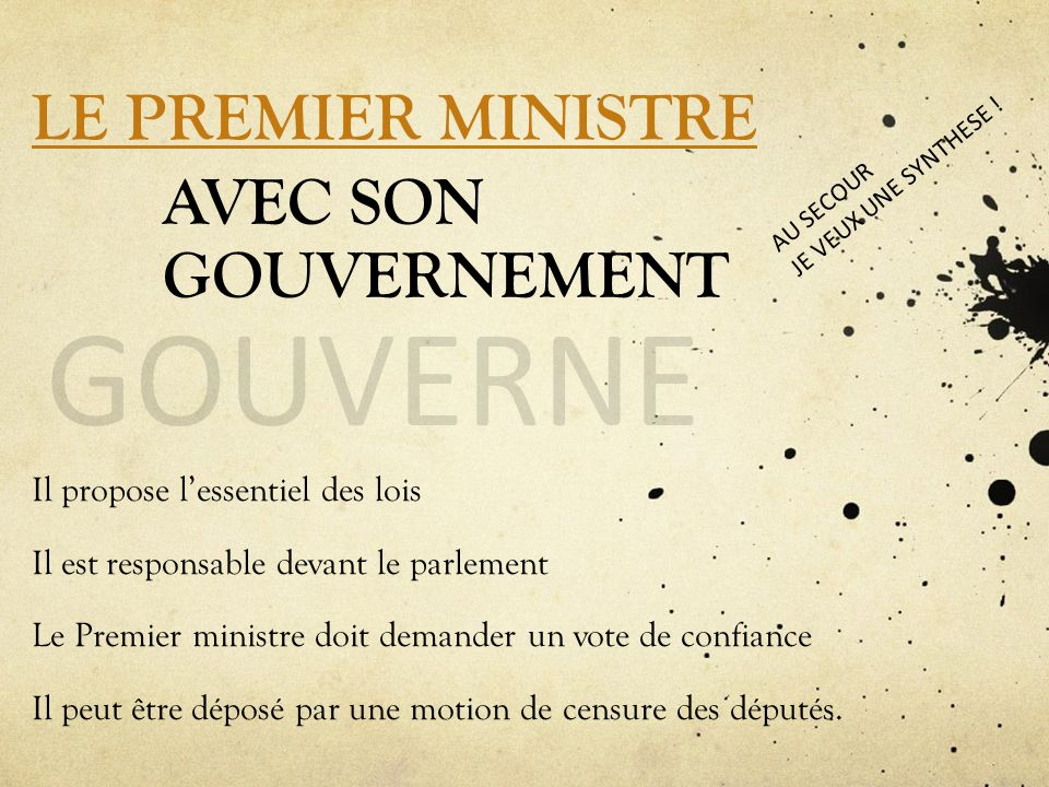GOUVERNE LE PREMIER MINISTRE AVEC SON GOUVERNEMENT