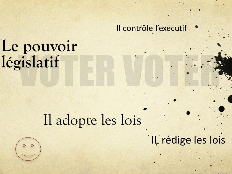VOTER VOTER Le pouvoir législatif Il adopte les lois