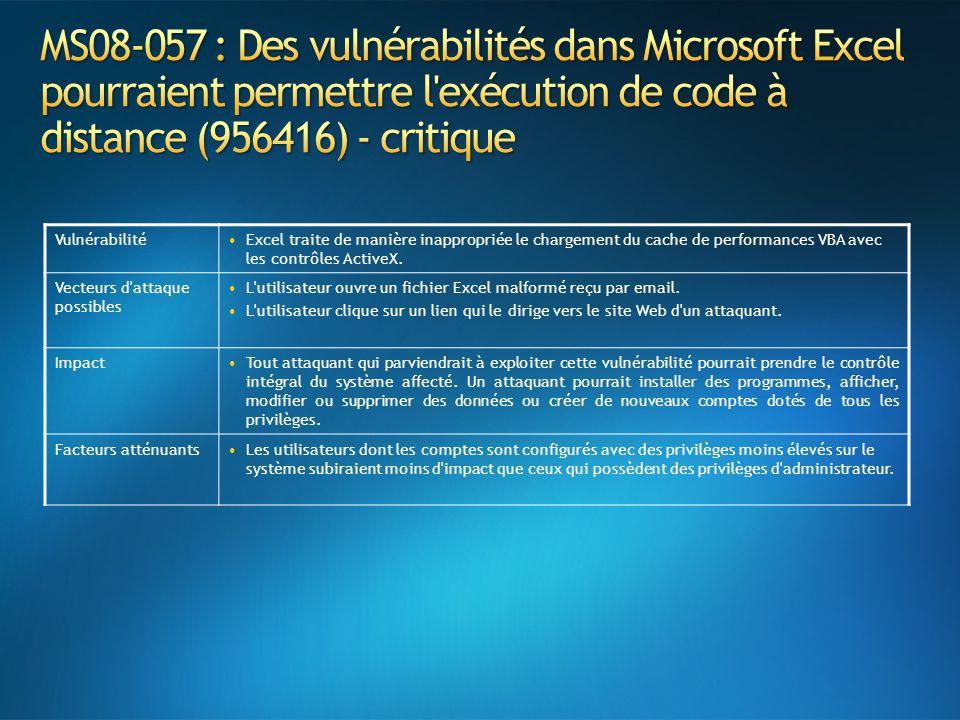MS08-057 : Des vulnérabilités dans Microsoft Excel pourraient permettre l exécution de code à distance (956416) - critique