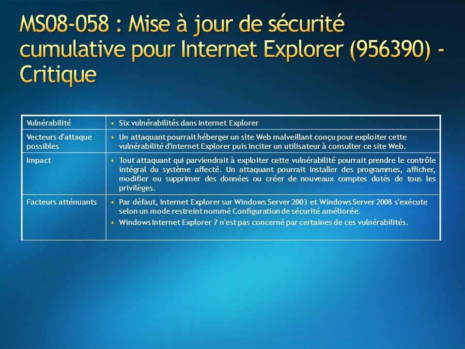 MS08-058 : Mise à jour de sécurité cumulative pour Internet Explorer (956390) - Critique