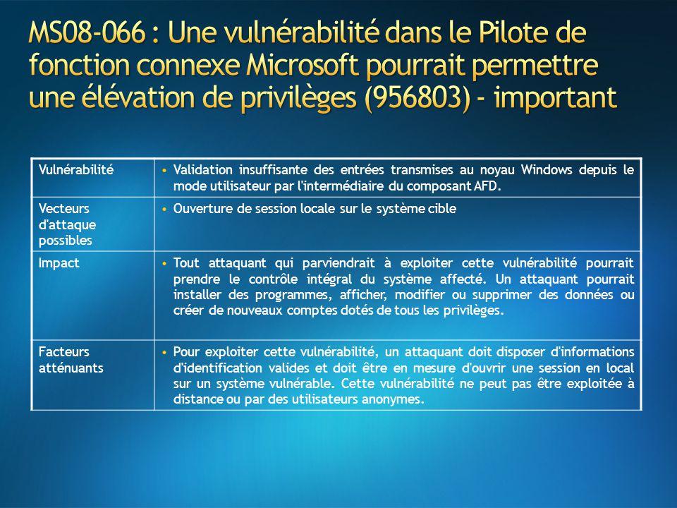 MS08-066 : Une vulnérabilité dans le Pilote de fonction connexe Microsoft pourrait permettre une élévation de privilèges (956803) - important