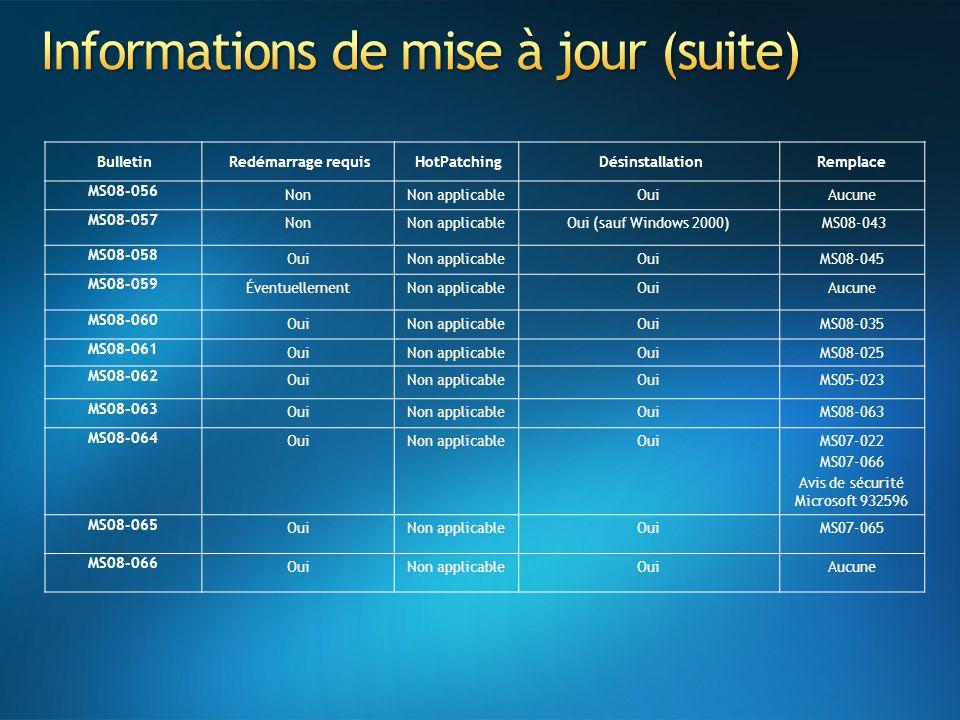 Informations de mise à jour (suite)